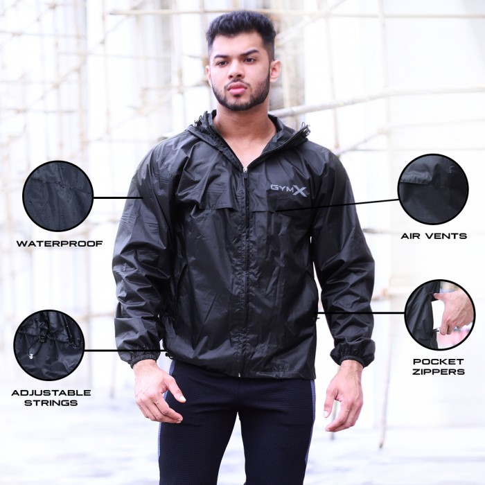 Beast Jet Black Black - GymX Hurricane Waterproof Jacket