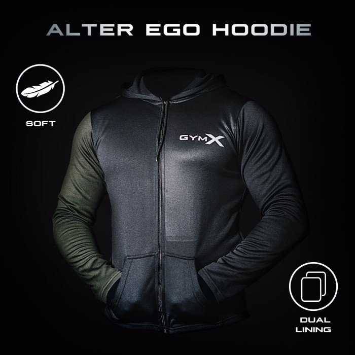Gymx Alter Ego Black & Olive Green Hoodie - Phoenix Series- SALE