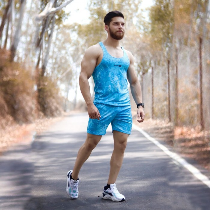 Combo Offer- Ice Blue Stringer+ Ice Blue Short
