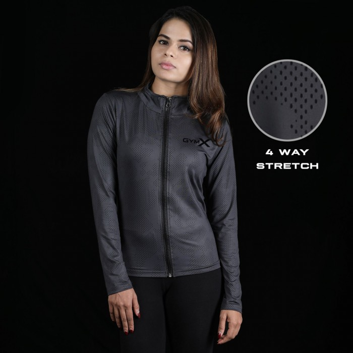 GymX Shadow Grey Full Zip Jacket- Athena Series