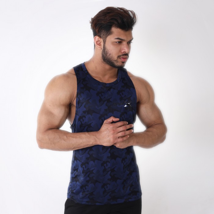 Midnight Blue Camo Tank- Deep Arm Hole