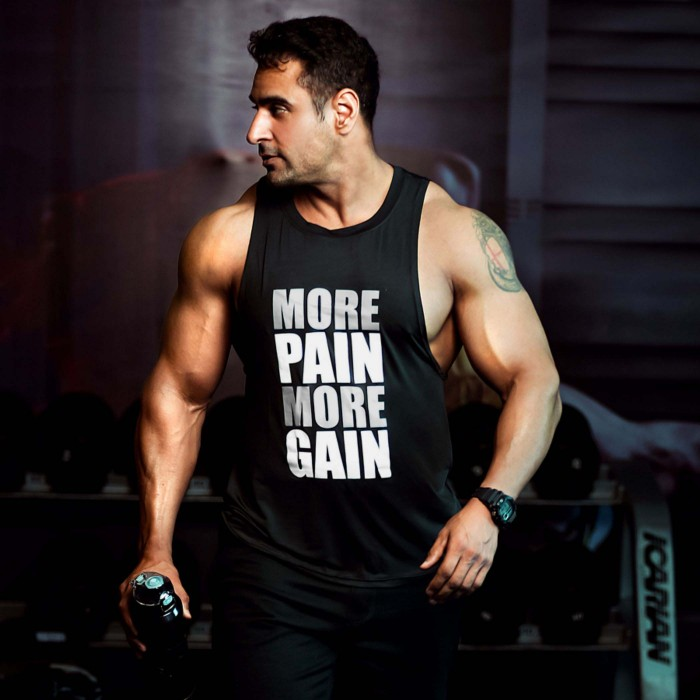 More Pain More Gain Iconic Black Tank- (Flex Dry Fit)