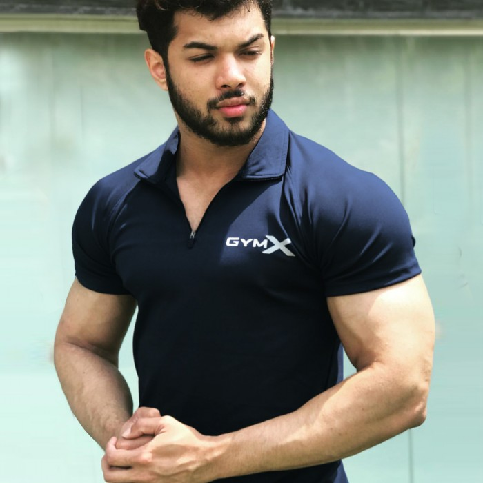 GymX Zurik Navy Blue Polo Tech Tee (Advance Zip) SALE