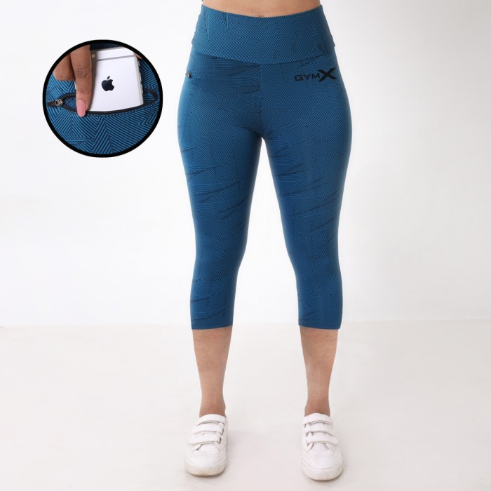 GymX Turquoise Blue 3/4th Leggings- Nirvana Leggings